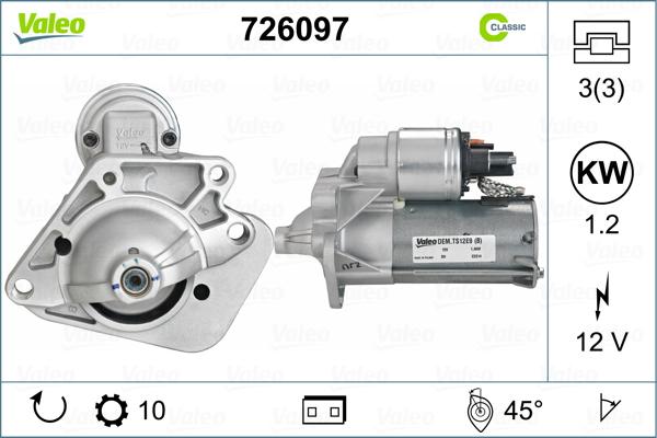 VALEO 726097 Motorino...